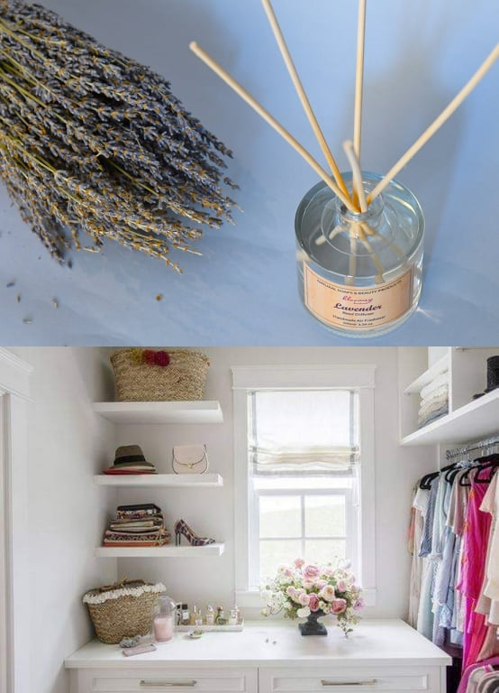Another way to use reed diffuser sticks for fresh smelling closet!