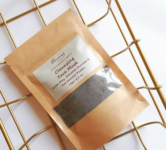 Cleansing Face Mask with green clay, activated charcoal & red seaweed powder.